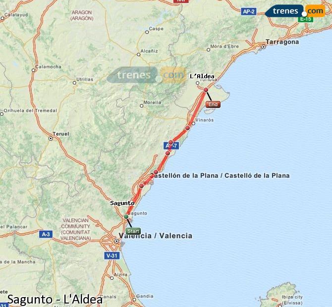 Karte vergrößern Züge Sagunto L'Aldea