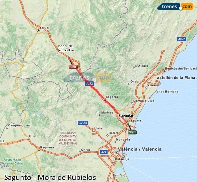 Enlarge map Trains Sagunto to Mora de Rubielos