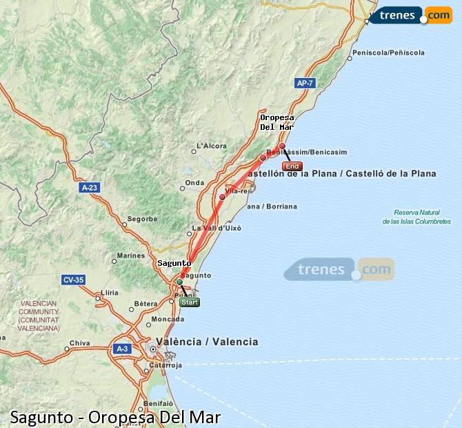 Enlarge map Trains Sagunto to Oropesa Del Mar