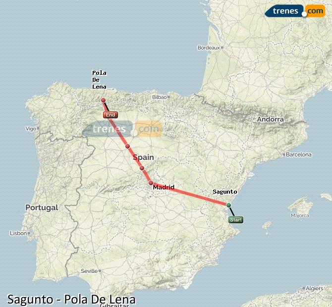 Agrandir la carte Trains Sagunto Pola De Lena