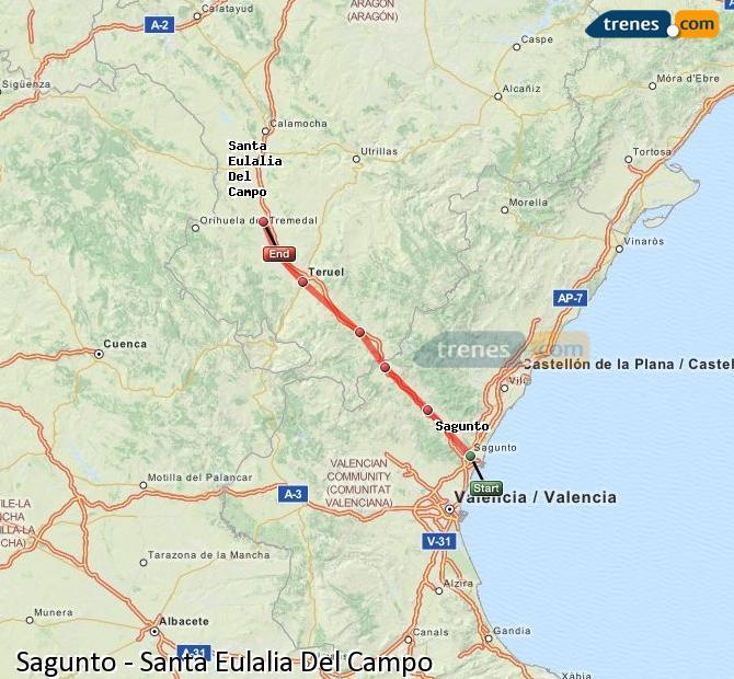 Ampliar mapa Comboios Sagunto Santa Eulalia Del Campo
