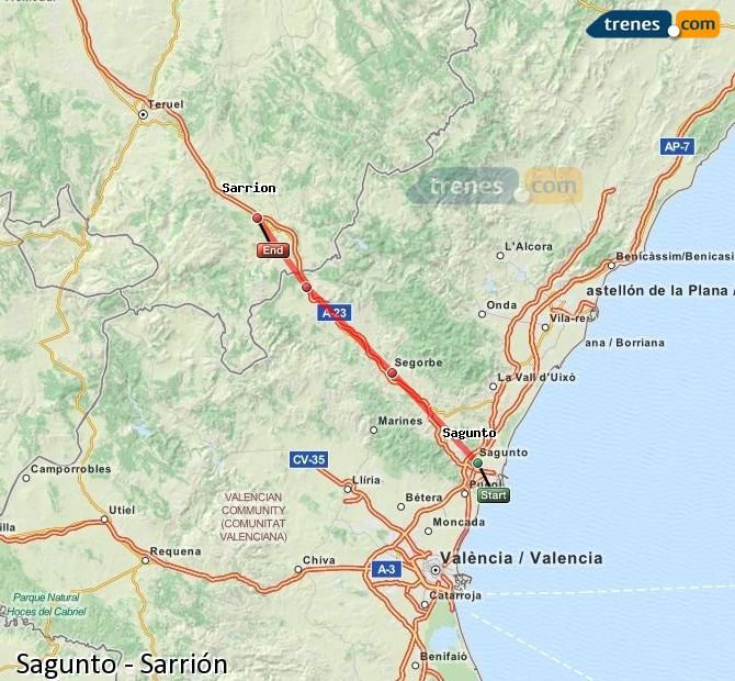 Enlarge map Trains Sagunto to Sarrión