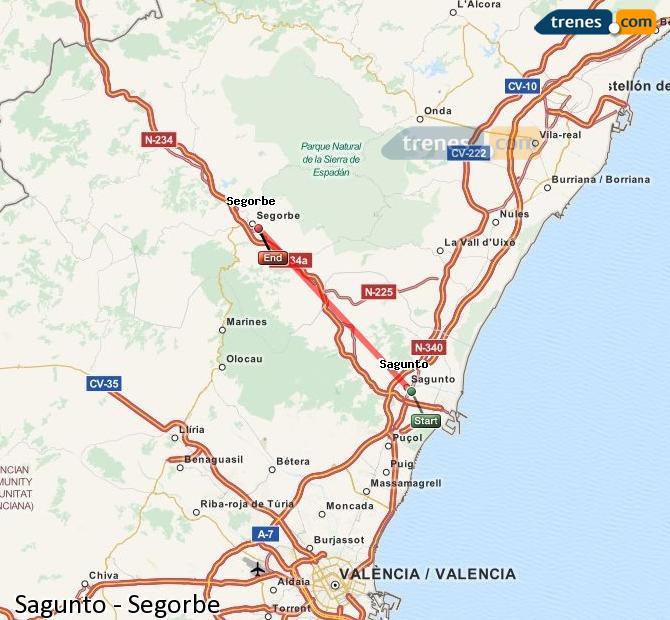 Enlarge map Trains Sagunto to Segorbe