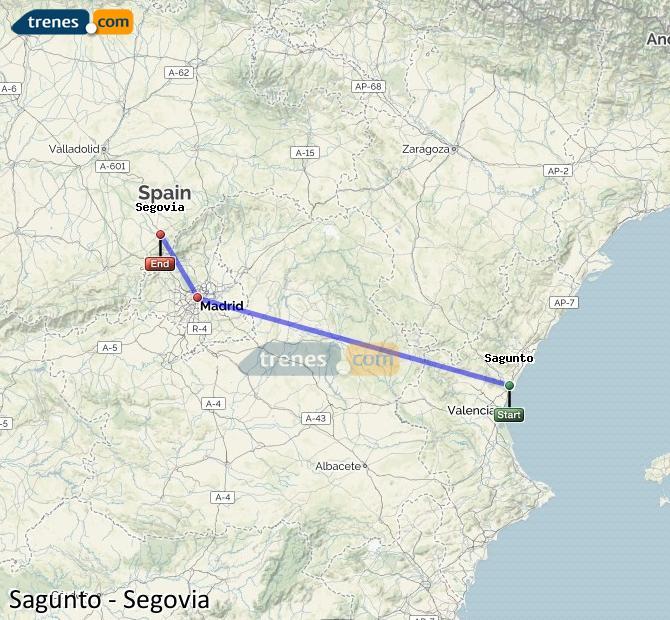 Ampliar mapa Trenes Sagunto Segovia