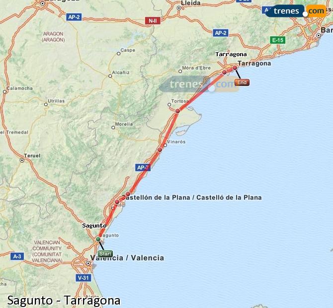 Karte vergrößern Züge Sagunto Tarragona