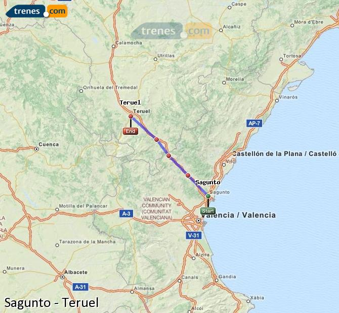 Enlarge map Trains Sagunto to Teruel