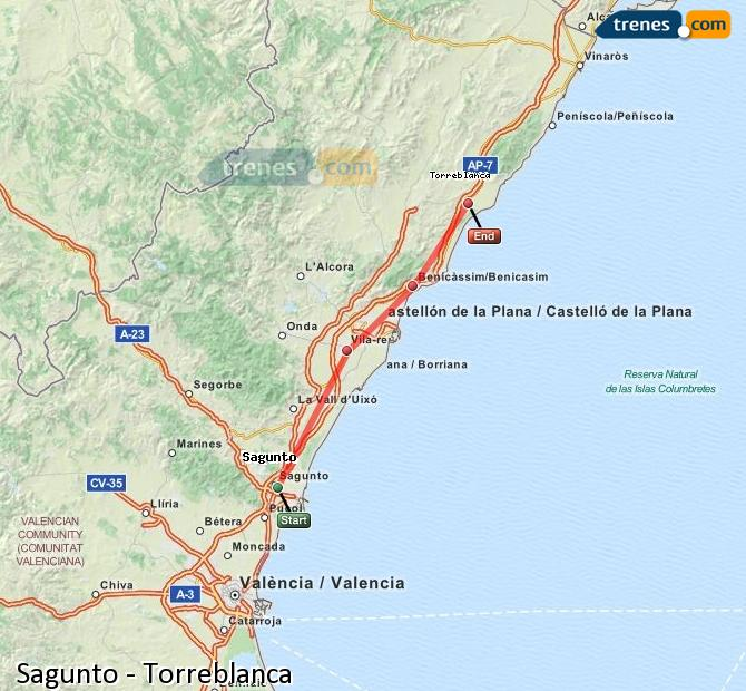 Enlarge map Trains Sagunto to Torreblanca