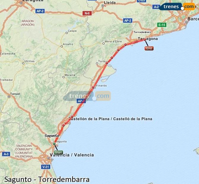 Ampliar mapa Trenes Sagunto Torredembarra