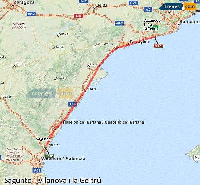 Ingrandisci la mappa Treni Sagunto Vilanova i la Geltrú
