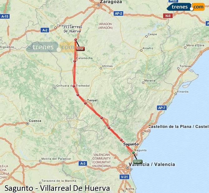 Ingrandisci la mappa Treni Sagunto Villarreal De Huerva