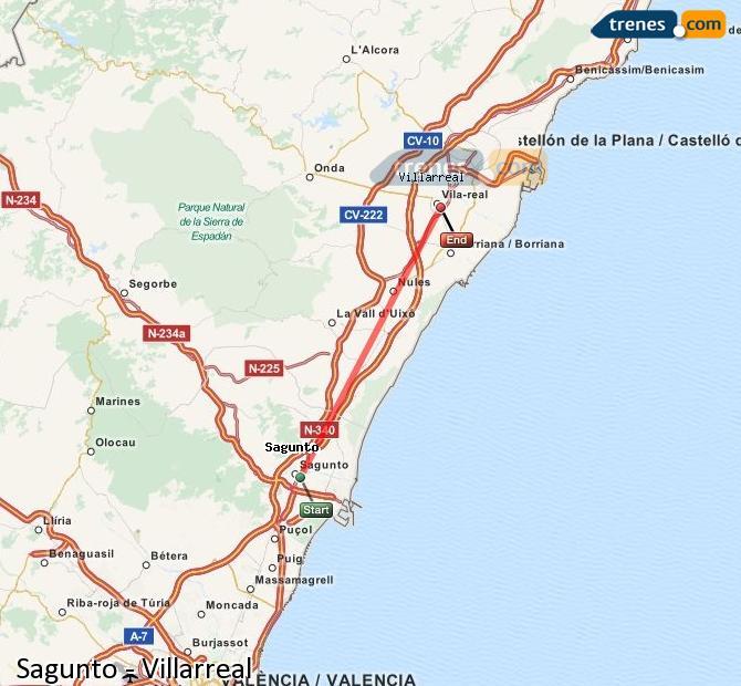 Karte vergrößern Züge Sagunto Villarreal