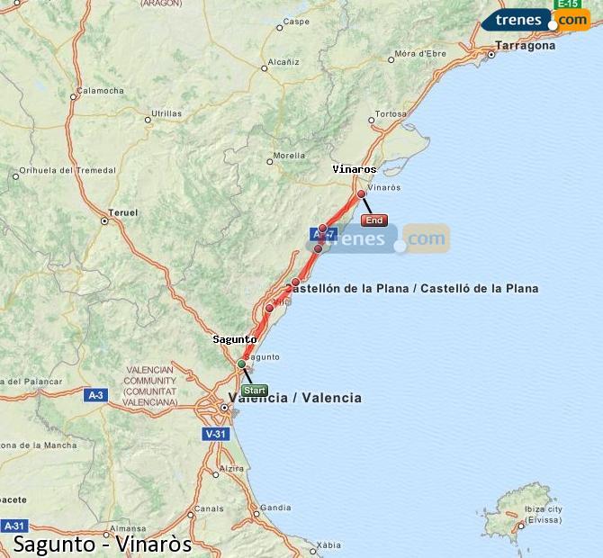 Agrandir la carte Trains Sagunto Vinaròs