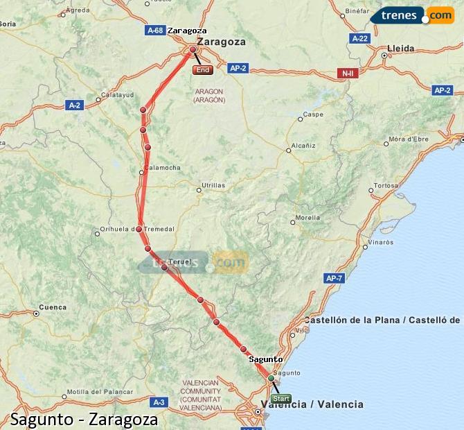 Ampliar mapa Trenes Sagunto Zaragoza