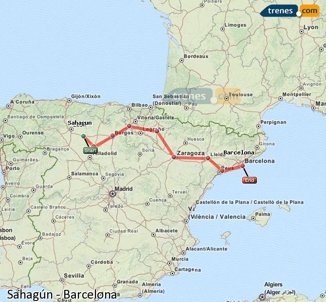 Karte vergrößern Züge Sahagún Barcelona
