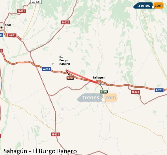 Ingrandisci la mappa Treni Sahagún El Burgo Ranero