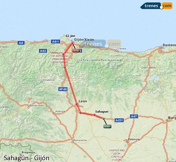 Ampliar mapa Trenes Sahagún Gijón