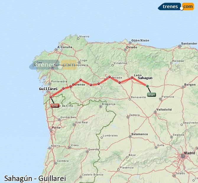Agrandir la carte Trains Sahagún Guillarei