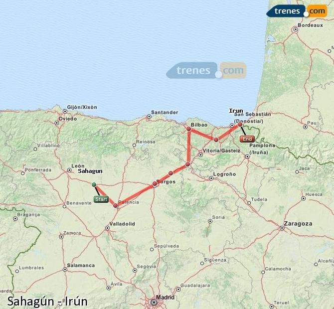 Ampliar mapa Comboios Sahagún Irún