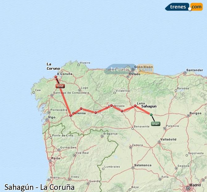 Agrandir la carte Trains Sahagún La Coruña