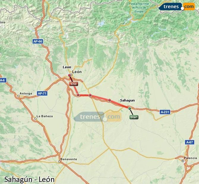 Agrandir la carte Trains Sahagún León