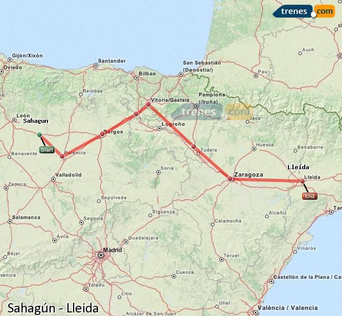 Agrandir la carte Trains Sahagún Lleida
