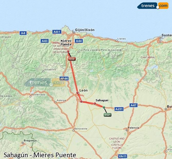 Ampliar mapa Trenes Sahagún Mieres Puente