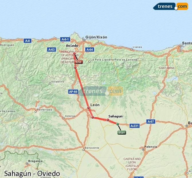 Enlarge map Trains Sahagun to Oviedo