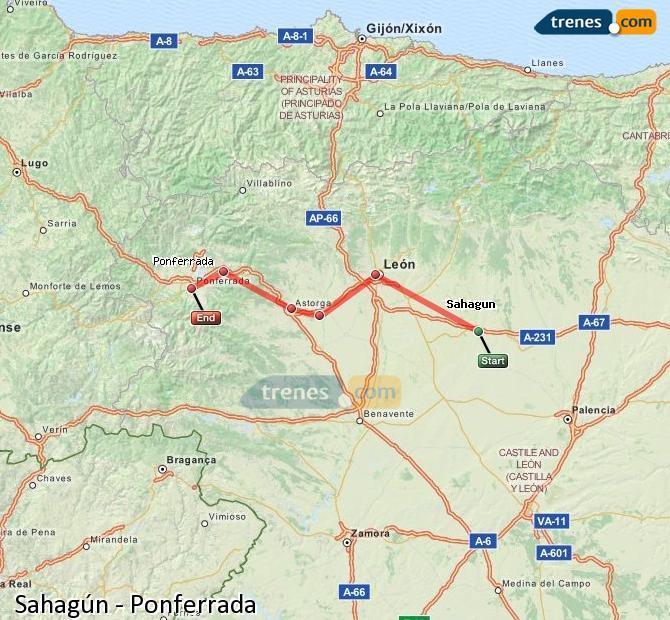 Ampliar mapa Comboios Sahagún Ponferrada