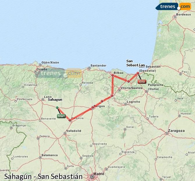 Agrandir la carte Trains Sahagún San Sebastián