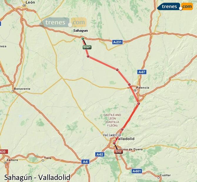 Ampliar mapa Comboios Sahagún Valladolid