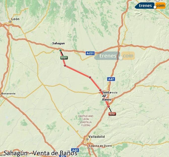 Ampliar mapa Trenes Sahagún Venta de Baños