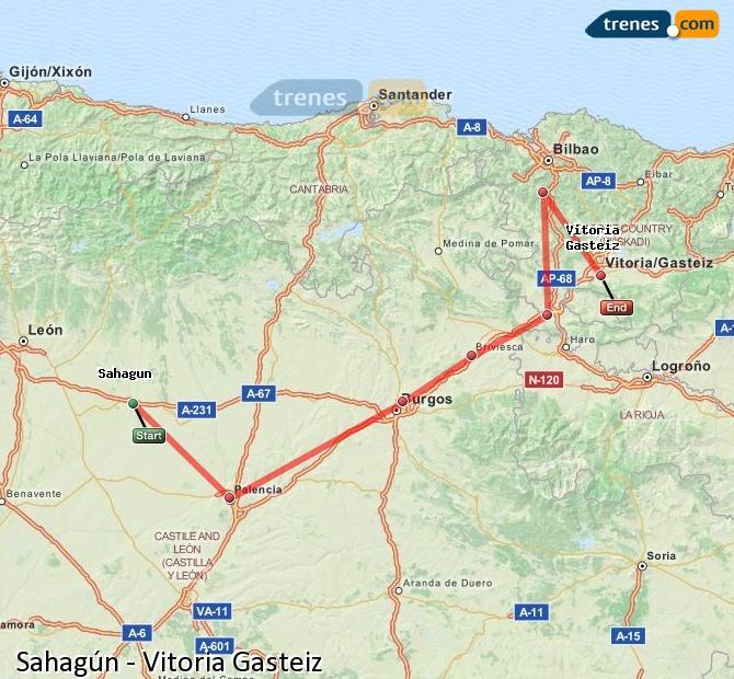 Ingrandisci la mappa Treni Sahagún Vitoria Gasteiz