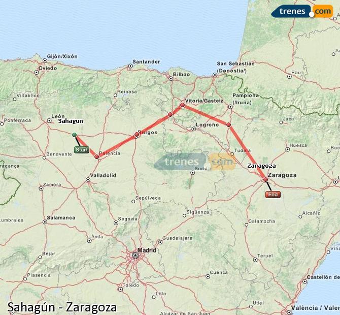 Ampliar mapa Comboios Sahagún Zaragoza