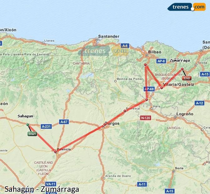 Ingrandisci la mappa Treni Sahagún Zumárraga