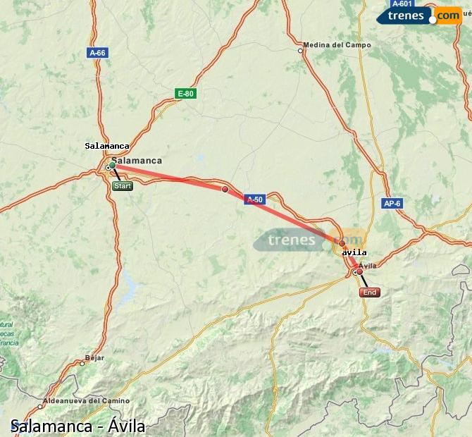 Enlarge map Trains Salamanca to Avila