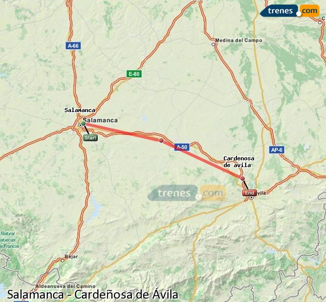 Enlarge map Trains Salamanca to Cardeñosa of Ávila