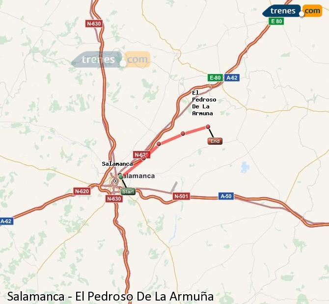 Enlarge map Trains Salamanca to El Pedroso De La Armuña