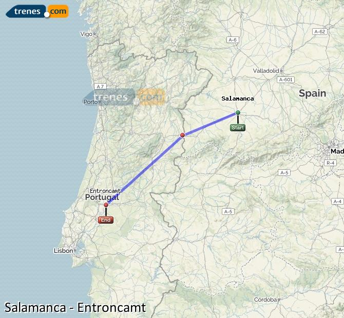 Ampliar mapa Trenes Salamanca Entroncamt
