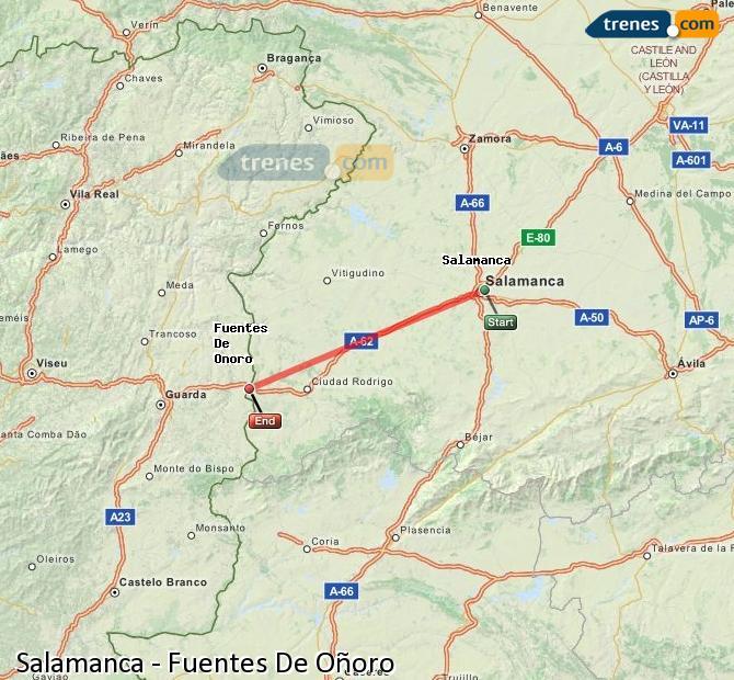 Enlarge map Trains Salamanca to Fuentes De Oñoro