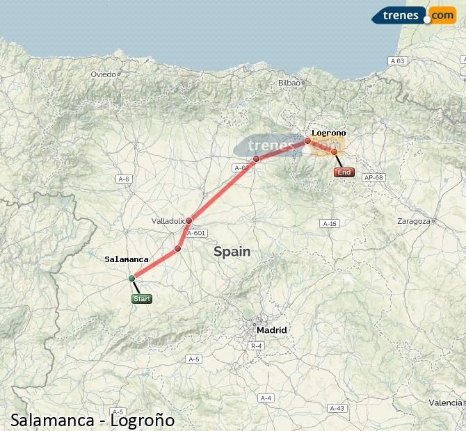 Ampliar mapa Trenes Salamanca Logroño