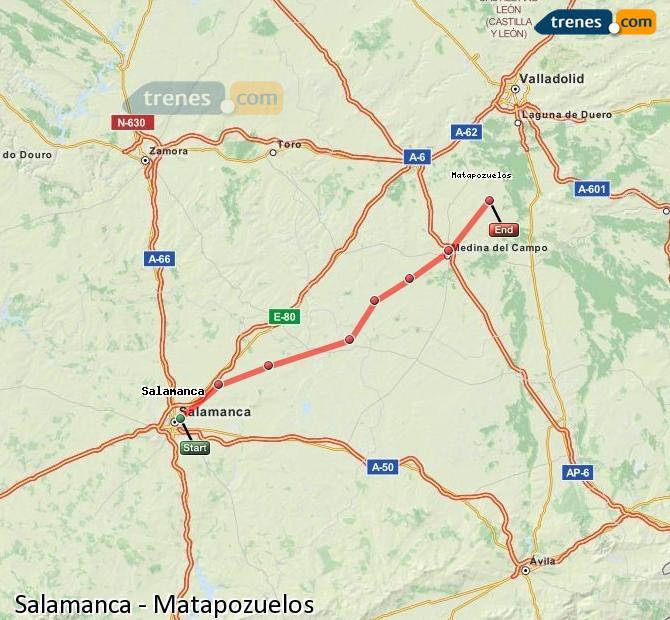 Ampliar mapa Trenes Salamanca Matapozuelos