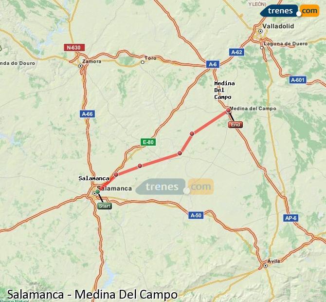 Enlarge map Trains Salamanca to Medina Del Campo