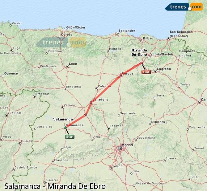 Ampliar mapa Trenes Salamanca Miranda De Ebro