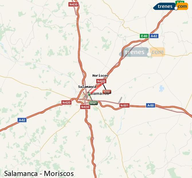 Enlarge map Trains Salamanca to Moriscos