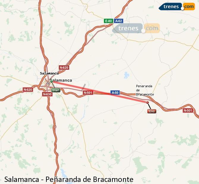 Enlarge map Trains Salamanca to Peñaranda de Bracamonte