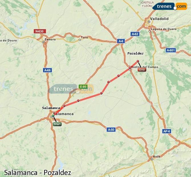 Karte vergrößern Züge Salamanca Pozaldez