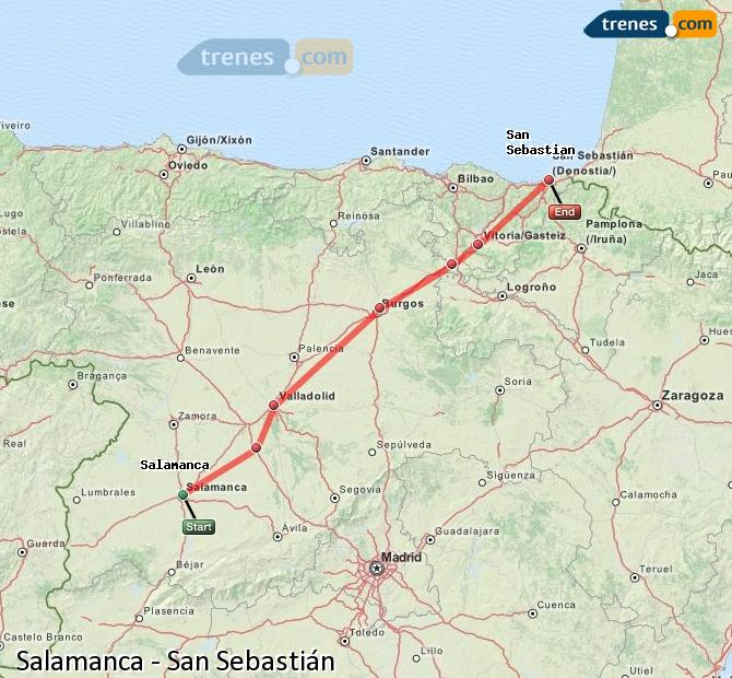 Enlarge map Trains Salamanca to Saint Sebastian