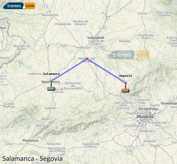 Ampliar mapa Trenes Salamanca Segovia
