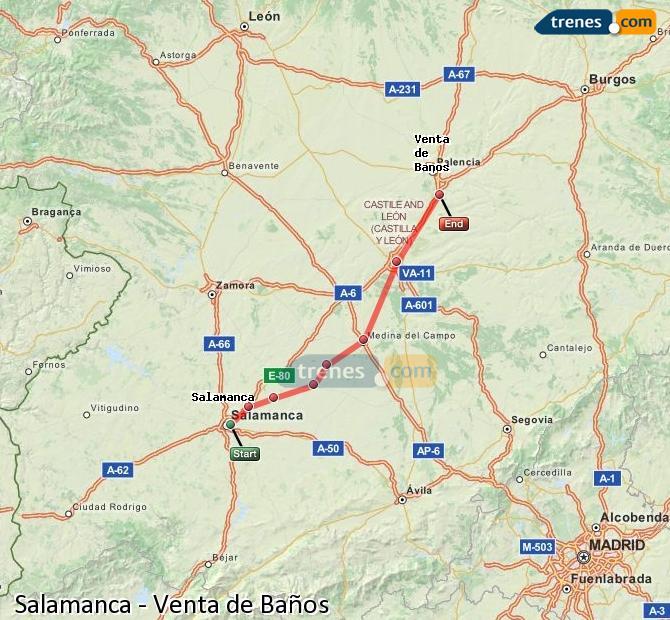 Agrandir la carte Trains Salamanca Venta de Baños