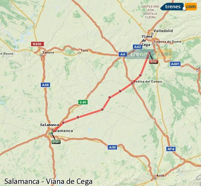 Enlarge map Trains Salamanca to Viana de Cega